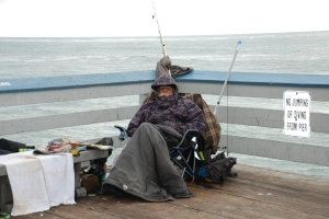 A little fishing on the San Clemente Pier on a chilly day.