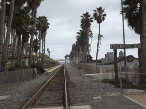 Railroad tracks running parallel to the Beach