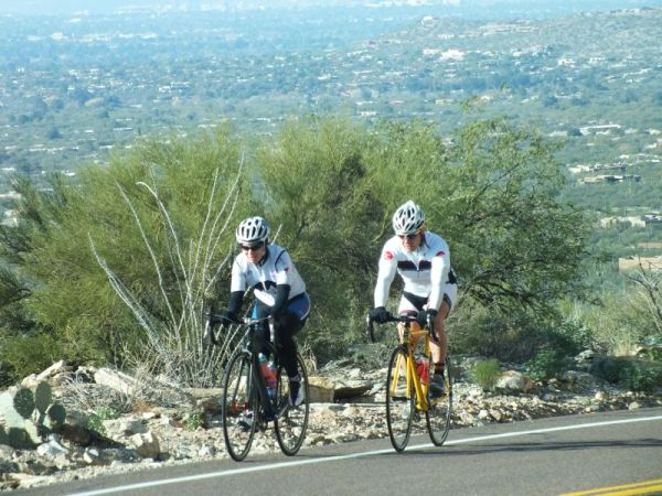 HEARTY BIKERS HEADING UP TO THE TOP