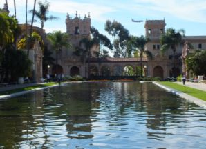 LOOKING ACROSS REFLECTING POOL FROM THE BOTANICAL GARDEN BUILDING