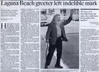 THE GREETER - LAGUNA BEACH'S CULTURAL ICON
