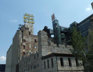 GOLD MEDAL SIGN IS DISPLAYED ATOP THE RUINS OF THE MILL WHERE IT WAS ONCE PRODUCED